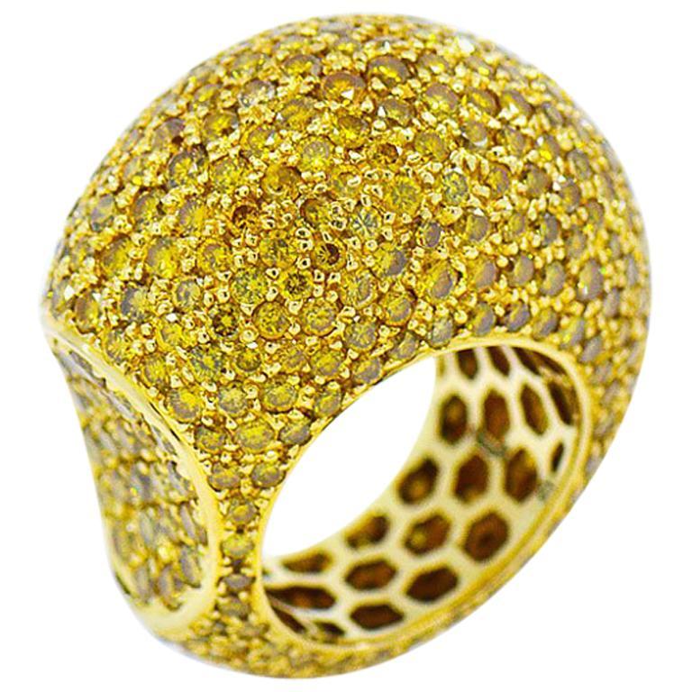 Fancy Yellow Diamond Eternity Ring, Huge Dome 18 Karat Gold Ring 12 Carat