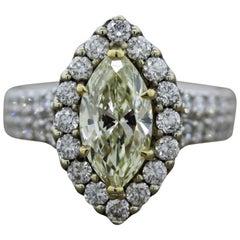 Fancy Yellow Diamond Gold Engagement Ring, 2.16 Carat