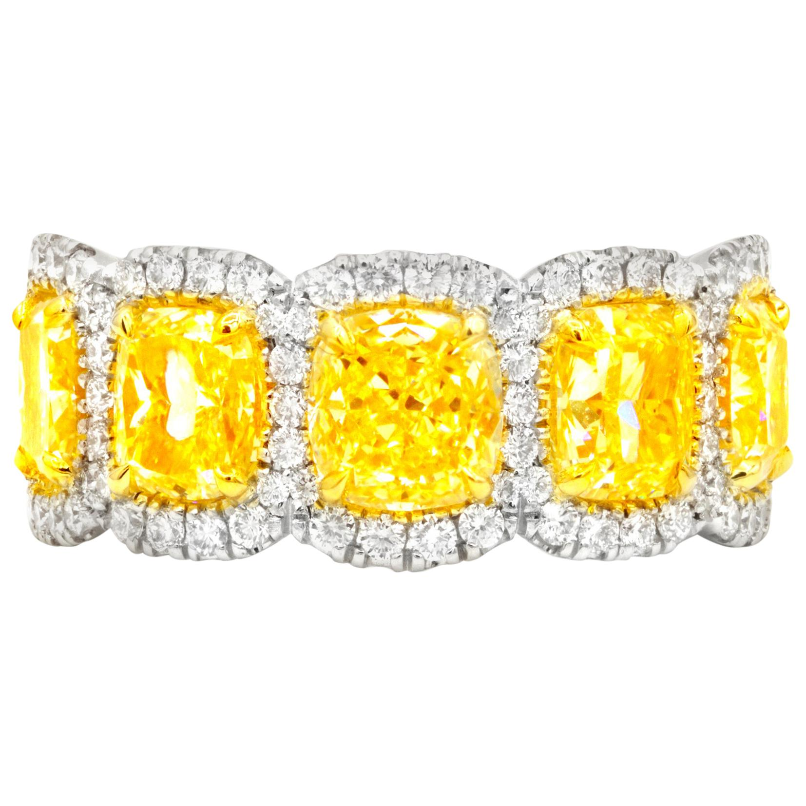 Fancy Yellow Diamond Gold Eternity Band Ring