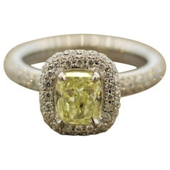 Fancy Yellow Diamond Gold Eternity Engagement Ring