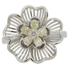 Fancy Yellow Diamond Gold Flower Ring