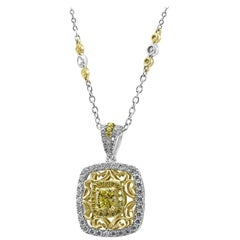 Fancy Yellow Diamond Halo Two Color Gold Drop Pendant Diamond by Yard Necklace