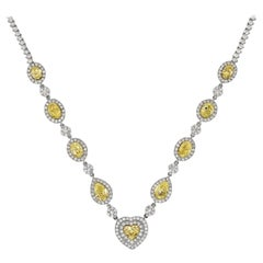 Fancy Yellow Diamond Heart, Pear, Oval Riviera Necklace 18 Karat 14.66 Carat