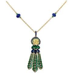 Fancy Yellow Diamond Peacock Necklace, 1.26 Carat
