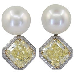 Fancy Yellow Diamond Pearl Detachable Boule Earrings