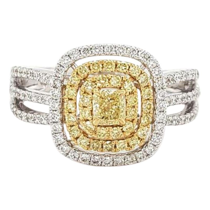 Fancy Yellow Diamond Ring 18 Karat White Gold