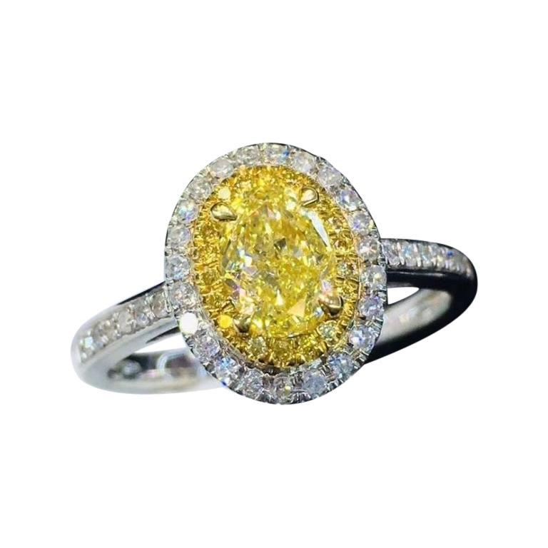 Fancy Yellow Diamond Ring 18K White Gold