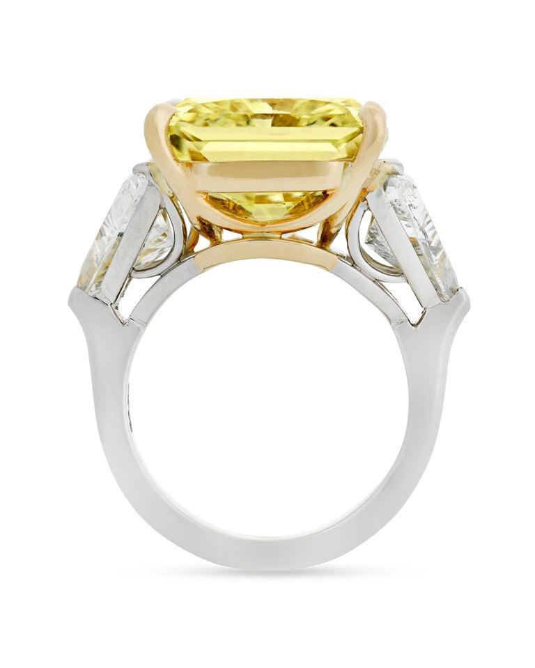 Modern Fancy Yellow Diamond Ring, 20.28 Carat For Sale