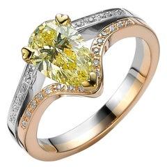 Fancy-Yellow Diamond Ring