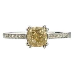 Fancy Yellow Diamond Ring, Set in 14 Karat White Gold