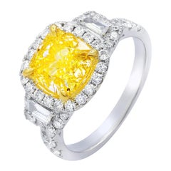 Fancy Yellow Diamond Ring Set in Halo Settings with Trapezoids
