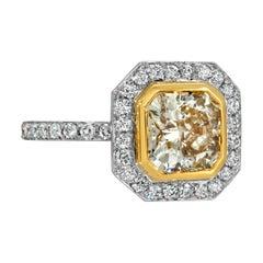 Fancy Yellow Diamond Ring with GIA 1.98 Carat Platinum/18 Karat Yellow Gold
