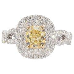 Fancy Yellow Diamond Ring with White Diamond Side Stones