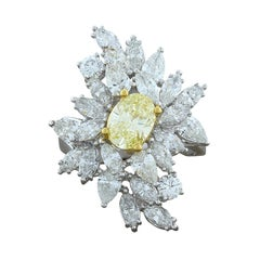 Fancy Yellow Diamond White Diamond Cluster Platinum Ring
