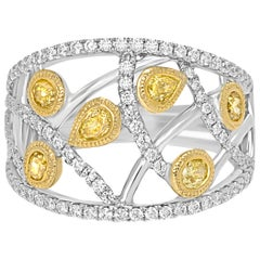 Fancy Yellow Diamond White Diamond Two Color Gold Fashion Cocktail Dome Ring