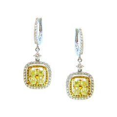 Fancy Yellow Diamonds Cluster Dangle White Gold Earrings