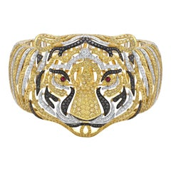 Fancy Yellow Diamonds Tiger Bangle Bracelet 18 Karat Gold Bracelet