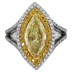 Fancy Yellow Double Halo Engagement Ring