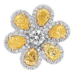 Fancy Yellow Flower Diamond Ring with Five GIA Certified Pear Shape Diamonds