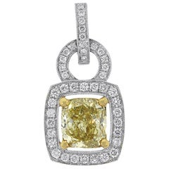 Fancy Yellow GIA Certified Cushion Cut Diamond Pendant