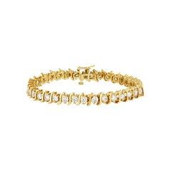 Fancy Yellow Gold with Diamonds Tennis Bracelet