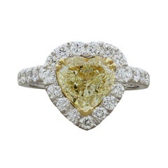 Fancy Yellow Heart Cut Diamond Heart Shape Gold Engagement Ring