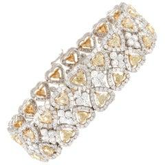 Fancy Yellow Heart Shape Diamond with White Diamond Halos Cuff Style Bracelet