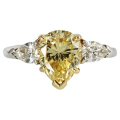 Fancy Yellow Intense Pear Shape Diamond Engagement Ring