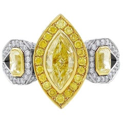 Alan Friedman Fancy Yellow Marquise and Pave Diamond Ring GIA Certified