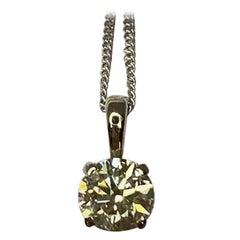 Fancy Yellow Natural Diamond Pendant Round Cut Untreated 18 Karat Gold Necklace