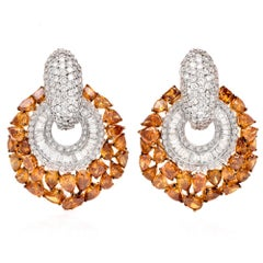 Fancy Yellow Orange Color Diamond Clip on Gold Earrings