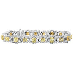 Fancy Yellow Oval Cut Diamond Halo Bracelet