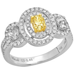 Fancy Yellow Oval Diamond 18 Karat Two-Tone Gold Engagement Ring