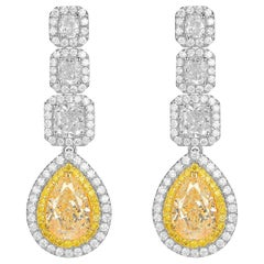 Fancy Yellow Pear Shape Diamond Drop Earrings