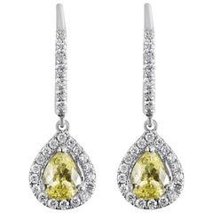 Roman Malakov, Fancy Yellow Pear Shape Diamond Halo Dangle Earrings