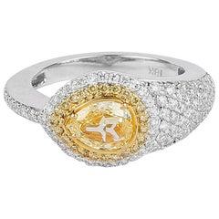 1.51 Carat Fancy Yellow Snakehead PearShaped Diamond Ring, 18 Karat White Gold