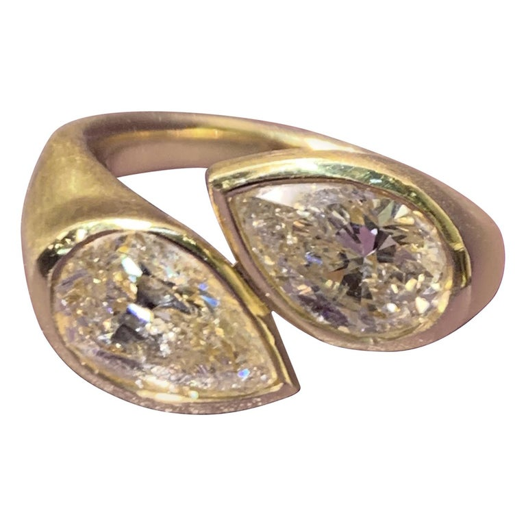 Fancy Yellow Pear Shaper Two-Stone Diamond Ring For Sale