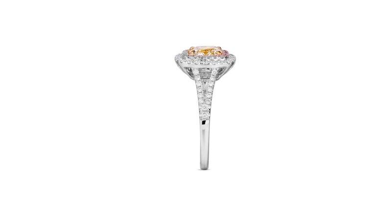 Cushion Cut Fancy Yellow  Pink Diamond Ring 18 Karat White Gold  For Sale