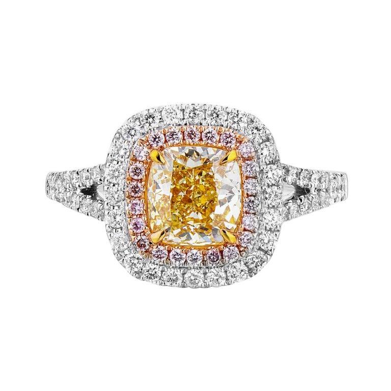 Fancy Yellow  Pink Diamond Ring 18 Karat White Gold  For Sale