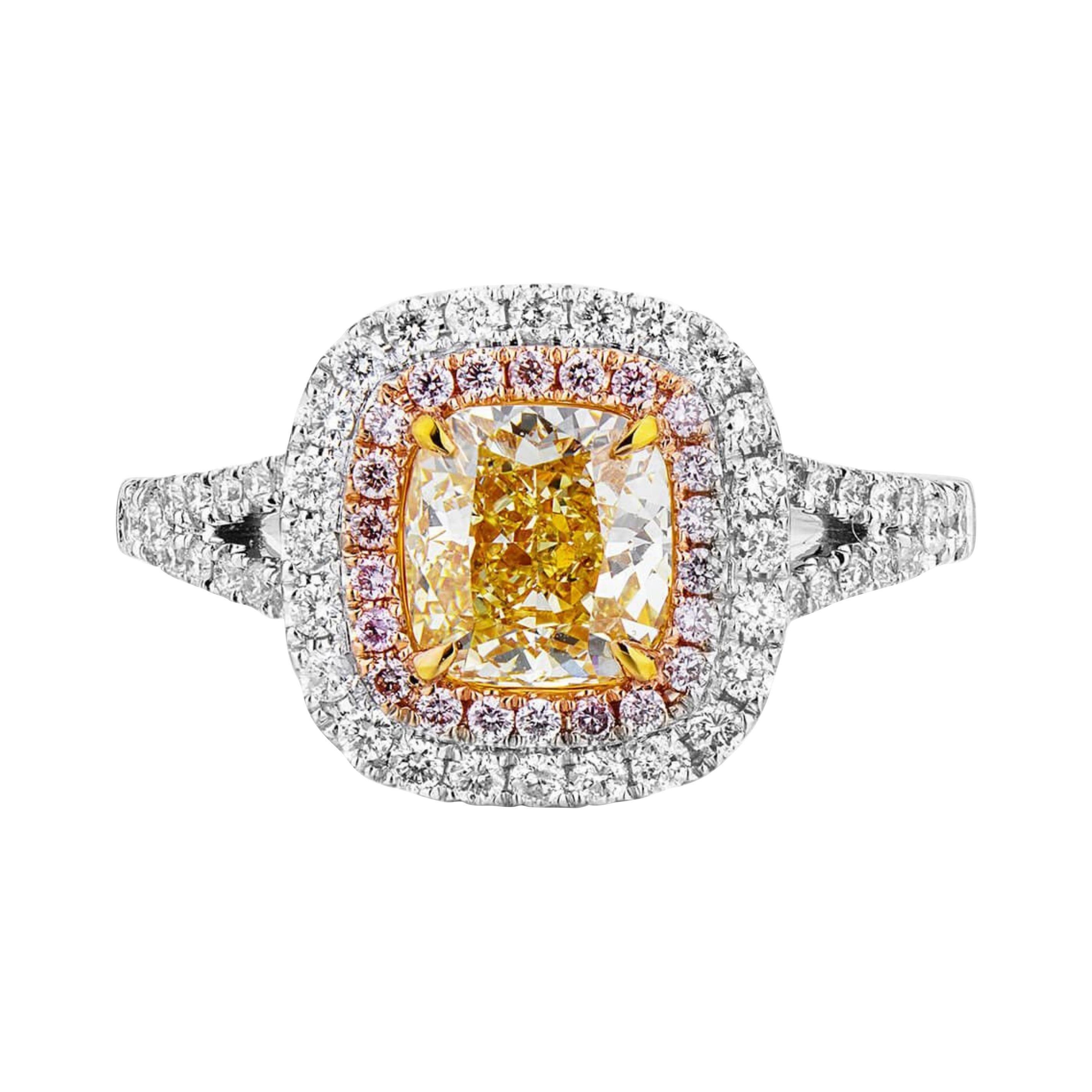 Fancy Yellow Pink Diamond Ring 18 Karat White Gold