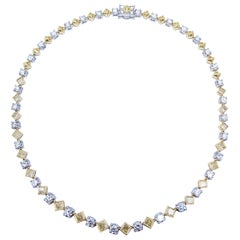 Fancy Yellow Princess Cut and Round Brilliant Diamonds Platinum Necklace