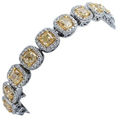 Fancy Yellow Radiant 17.95 Carat Diamond Bracelet