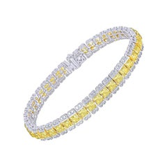 Fancy Yellow Radiant and Round Halo Tennis Bracelet, 12.63 Carat