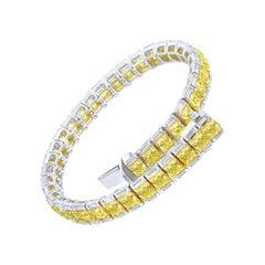 Fancy Yellow Radiant and White Baguette Diamond Tennis Bracelet, 10.49 Carat
