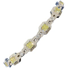 Fancy Yellow Radiant Cut Diamond Bracelet