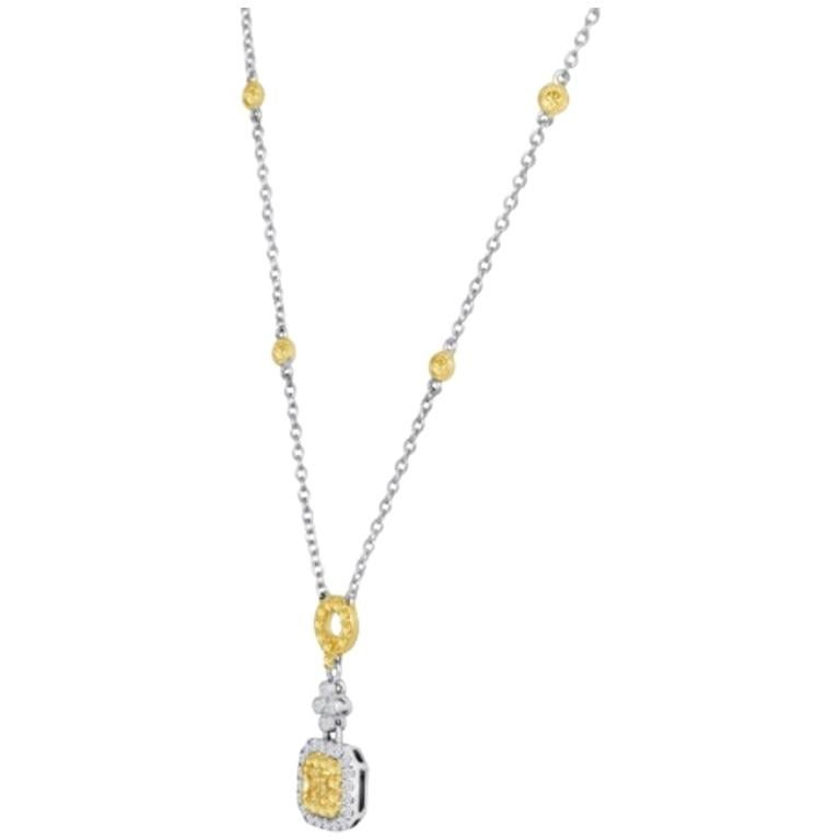 Fancy Yellow Radiant Cut Diamond Double Halo Two-Color Gold Pendant Necklace