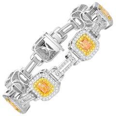 Fancy Yellow Radiant Cut Diamond Ladies Bracelet