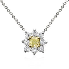 Fancy Yellow Radiant Cut Diamond Starburst Pendant Necklace