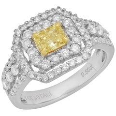 Fancy Yellow Radiant Diamond 18 Karat Two-Tone Gold Halo Ring