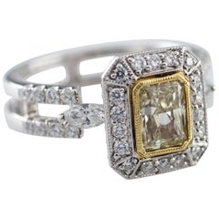 Fancy Yellow Radiant Diamond 18 Karat Two-Tone Gold Ring